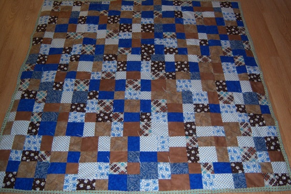 Blues and Browns Quilt- Throw size