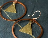 Mixed Metal Jewelry, Copper Jewelry, Triangle Earrings, Gift for Her