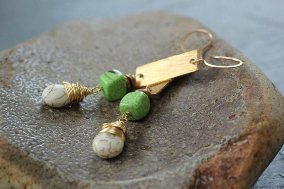 Geometric Gold Green and White Turquoise Earrings