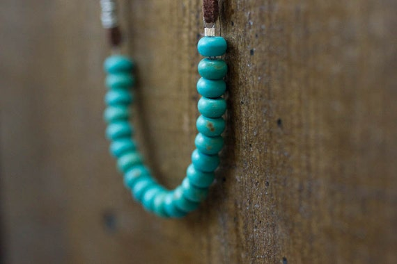 Simple Turquoise and Leather Necklace