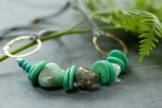 Chunky Mint Green and Grey Leather Necklace