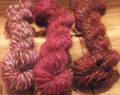 Berries and Chocolate - Handspun Miniskein Trio Lace/Fingering Wt