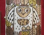 Wooden box- OWL & FALLING LEAVES