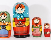 Nesting russia doll matryoshka traditional babushka stacking dolls set of 5 free shipping