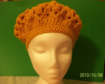 Gold crochet slouch hat
