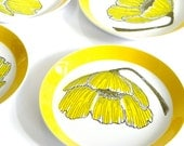 Reserved For cmsilva: Vintage Mikasa Plates with Sunny Yellow Poppy Flowers By Ben Seibel 60s 70s