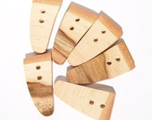 6 Gorgeous Maple Wood Toggle Buttons - Perfect For Craft Projects - 1 inch by 2 1/8 inches - 453