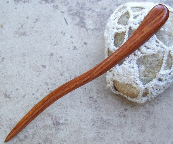 "Curvy Exotic Wood Wooden Shawl Pin Or Hair Stick - 6""(15.2cm) - Great Gift Item - 481"
