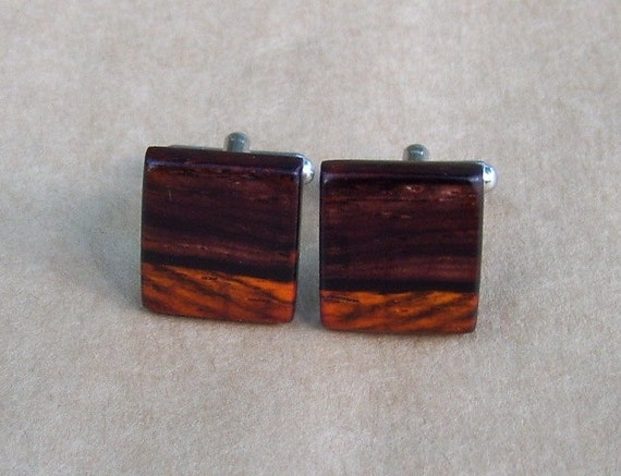 Cocobolo Wood Wooden Cufflinks - Perfect For Birthdays, Wedding, Anniversaries, And Graduation Gifts - 899
