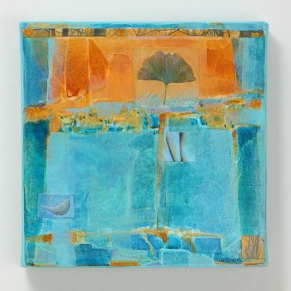 original painting 8x8,Ginkgo Spirit,nature, wall art, acrylic painting, mixed media painting
