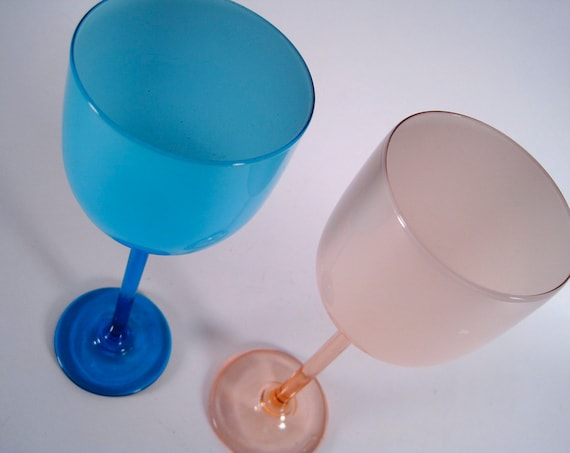 1960s CARLO MORETTI Wine Glasses his and hers Pink and Blue    sale