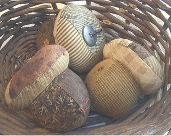 Primitive Fall Patchwork Acorn Bowl Fillers ....set of 3....