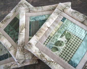 Green Country Quilted Patchwork Coaster Set of 4