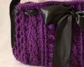 Crocheted Cable Purse, Purple Bow Handbag, Made to Order