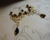 Gold-filled Hoop Earrings with Gold-filled Textured chain, Gold-filled stardust beads and Topaz Swarovski crystals