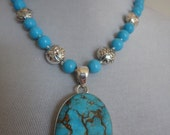 Spectacular Solid Sterling Silver and Sleeping Beauty Turquoise Necklace