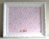 CUSTOM ORDER for Lauren - Magnet Board for Little Ones Nursery with Pink and White Ticking