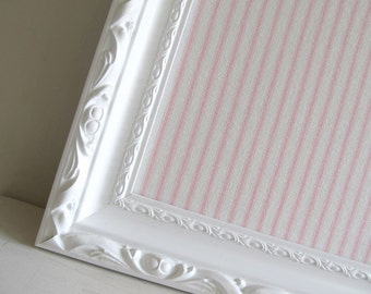 Framed Bulletin Board Magnetic Board Magnet Board Memo Pink White Ticking Shabby Chic Nursery Wall Decor Boutique Girls Room Picture Frame