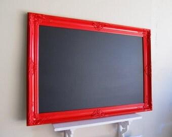 LARGE Red CHALKBOARD Framed Magnetic Chalk Board Black Board Wedding Menu Framed Sign Restaurant Kitchen Baroque Tuscan Decor - MoRE COLORS