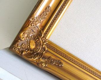 X Large MAGNET BOARD Framed Memo Board Magnetic Vintage Kitchen Organizer Antique Gold Ivory Ornate Fabric Bulletin Board Artwork Display