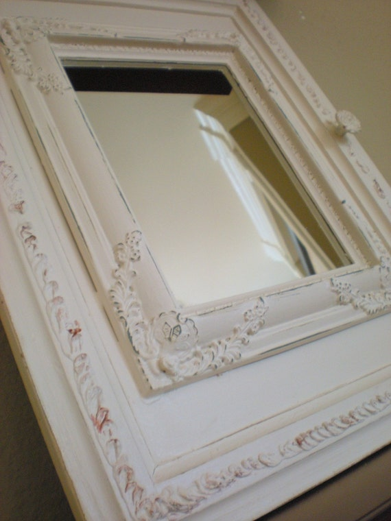 Vintage Antique Shabby Chic Upcycled Cabinet Door Mirror