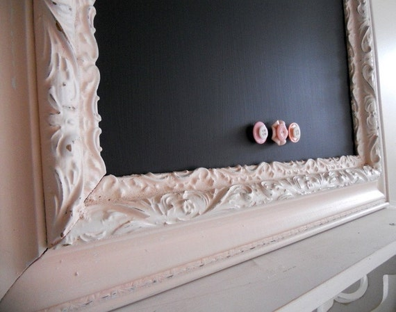 23inx27in Vintage Antique Soft Pink and White Ornate Magnetic Chalkboard