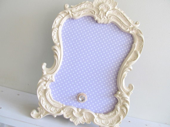 Reserved for EMILY'S REGISTRY - Ornate Picture Frame Magnet Board in Light Purple and Ivory Dot