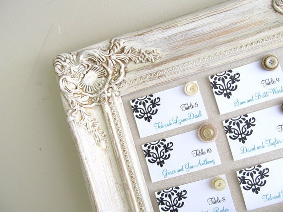 ESCORT CARD HOLDER Vintage Wedding Framed Magnet Board Seating Chart Table Cards Decoration Shabby Chic Distressed Old World Cream Ivory