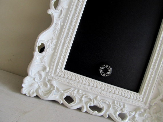 SET of 3 - FRAMED CHALKBOARD Magnetic Picture Frame Bridesmade Hostess Gift Housewarming Reminders Ornate White Vintage Style - Any Color