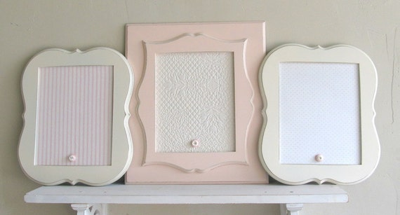 COLLECTION of MAGNET BOARDS Shabby Chic Nursery Wall Decor Picture Frames Pink Off White Stripes and Polkadots Pottery Barn Kids Style