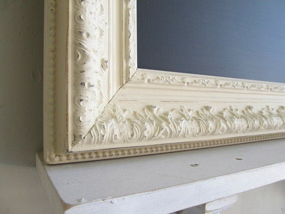 FRAMED CHALKBOARD Vintage Wedding Sign Shabby Chic Old World Kitchen Specials Board MAGNETIC Chalk Board Cream Ivory Ornate Distressed