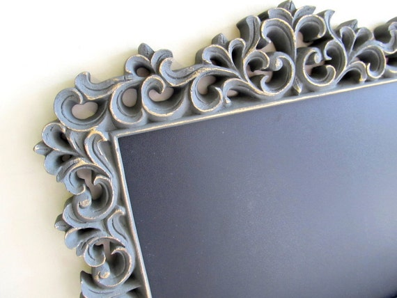 Grey CHALKBOARD Candy Bar Sign Magnetic Wedding Framed Charcoal Vintage Nursery Decor Ornate Picture Frame Gift Buffet Sign Gift Chalk Board