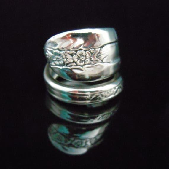 Silver Spoon Ring Flower - Belfry - Antique Silver Jewelry