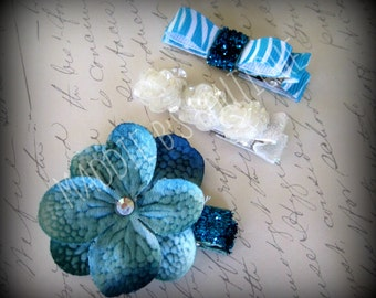 Cute & Funky Teal Blue Hydrangea flower 3 Pack Clip Sparkle Swaravorski Crystal Zebra Print Flower girl -Made by Maddie B's Boutique on Etsy