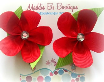 Boutique Red Ribbon Petal Flower-Pigtail set-Christmas Photos Weddings Birthday Party Favors-By Maddie B's Boutique