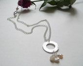Ivory Freshwater Pearl Necklace, Sterling Silver Bridal Necklace - Romance