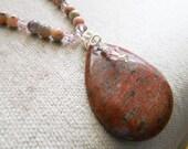 Jasper Pendant, Jade Gemstone Necklace, Swarovski Rose Crystal - Ethereal