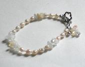 Pink Freshwater Pearl Bracelet, Citrine Gemstone Bracelet with Silver