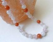Multi Gemstone Necklace, Red Aventurine, Rose and White Quartz Beaded Necklace - Gems