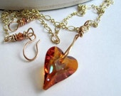 Heart Necklace, Wire Wrap Swarovski Crystal Pendant on Victorian Style Gold Chain