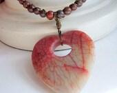 Jasper Necklace Stone Heart Pendant Beaded Leather Jewelry Unique Handmade Jewelry