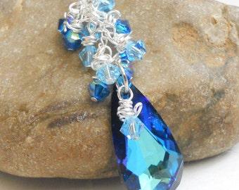 Bermuda Blue Swarovski Crystal Necklace Wire Wrap Aqua Cluster and Sterling Silver