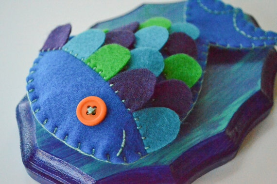 CUSTOM ORDER: Mounted Fish - Blue, Purple & Green