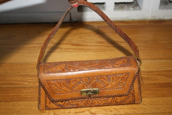 SALE Vintage 1950's 60's Tooled Trapezoid Leather Handbag