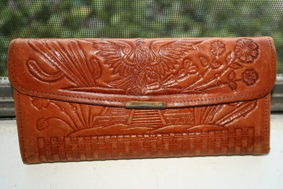 Vintage 1940's 50's Mexican Bullfighter & Aztec Pyramid Tooled Leather Wallet Billfold
