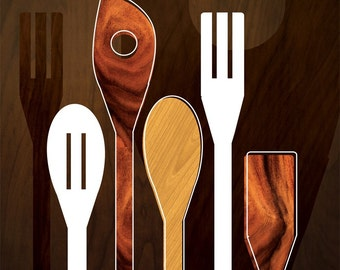 Wooden spoons and utensils 8x10