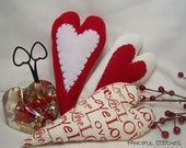 Three Valentine Fabric  Hearts Shabby,Hand stitched Originals OFG TEAM