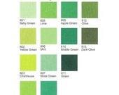 3 Plain Felt Sheets - Greens - 20cm x 20cm per sheet - Pick your own 3 colors