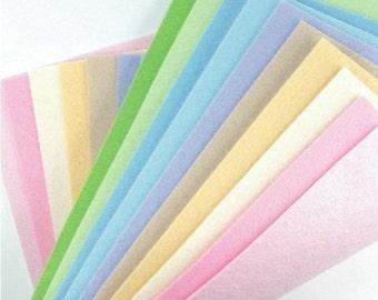 Felt Fabric - 10 Pastels Collection - 20cm x 20cm per sheet