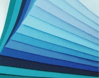 Felt Fabric - 13 Blues and Turquoises - 20cm x 20cm per sheet